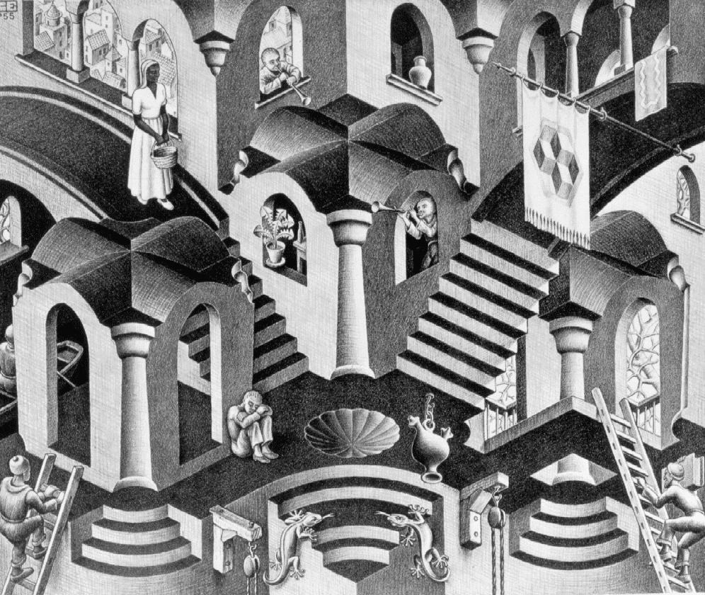 """M. C. Escher. Matt Groening a jeho Simpsonovi využil odkazu na Eschera v díle Život v pekle. V Groeningově parodii Escherovy Relativity kreslení králíci padají dolů ze schodů v nereálných úhlech. Tento gag Groening znovu použil v """"gaučovém úvodu"""" seriálu Simpsonovi i v seriálu Futurama v epizodě I, Roommate."""